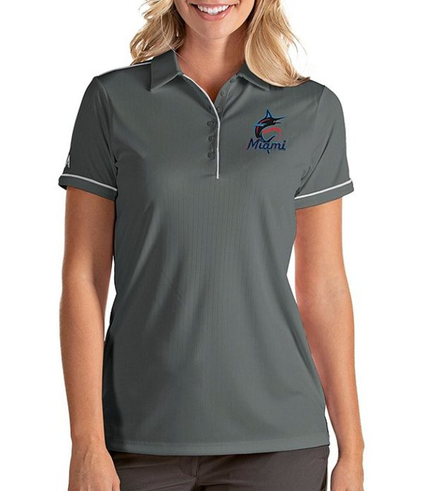 アンティグア レディース Tシャツ トップス Women's MLB Salute Short-Sleeve Polo Shirt Miami Marlins Steel