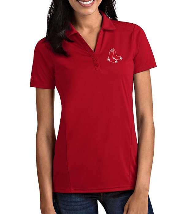 アンティグア レディース Tシャツ トップス Women's MLB Tribute Short-Sleeve Polo Shirt Boston Red Sox Dark Red