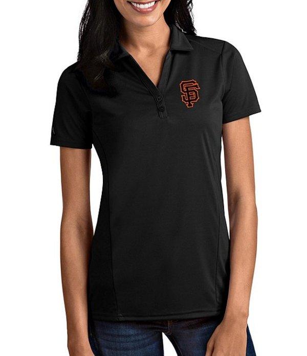 アンティグア レディース Tシャツ トップス Women's MLB Tribute Short-Sleeve Polo Shirt San Francisco Giants Black