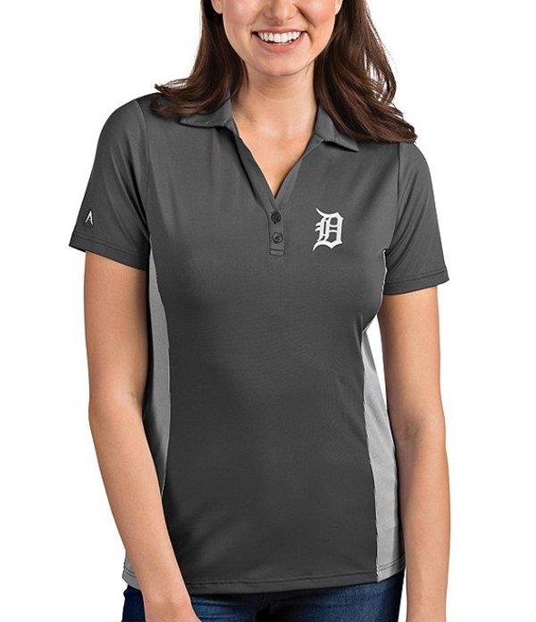 アンティグア レディース Tシャツ トップス Women's MLB Venture Short-Sleeve Polo Shirt Detroit Tigers Smoke