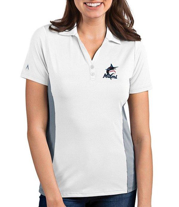 アンティグア レディース Tシャツ トップス Women's MLB Venture Short-Sleeve Polo Shirt Miami Marlins Steel
