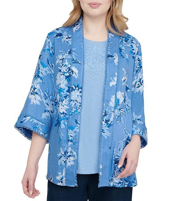 アリソン デイリー レディース カーディガン アウター Petite Size Floral Print Pom Pom Trim Kimono Blue Floral