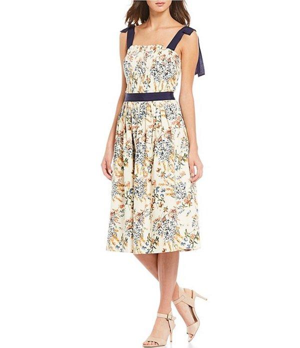 アントニオ メラーニ レディース ワンピース トップス Erin Poplin Square Neck Tie Strap Detail Pleated Front Floral Print Midi Dress Parchment/Tgerlily