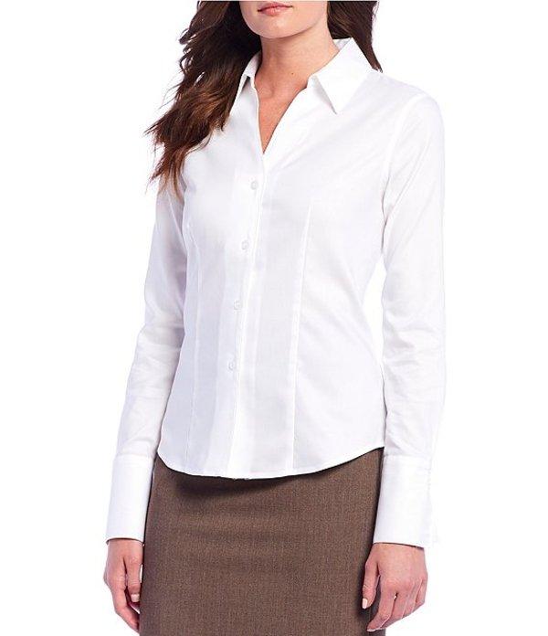 カルバンクライン レディース シャツ トップス Wrinkle-Free Pinpoint Oxford Blouse White