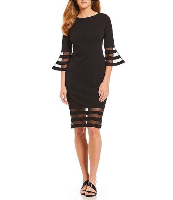 カルバンクライン レディース ワンピース トップス Illusion Sleeve Sheath Dress Black