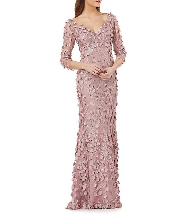 カルメンマークヴァルヴォ レディース ワンピース トップス Infusion V-Neck Fleurette Gown Dusty Rose