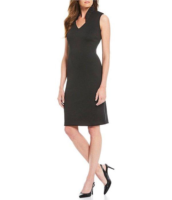 カルバンクライン レディース ワンピース トップス Ruffle V-Neckline Sleeveless Sheath Dress Black