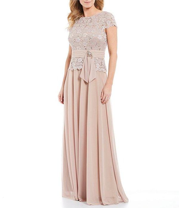 カシェット レディース ワンピース トップス Metallic Lace Bodice Gown Toast