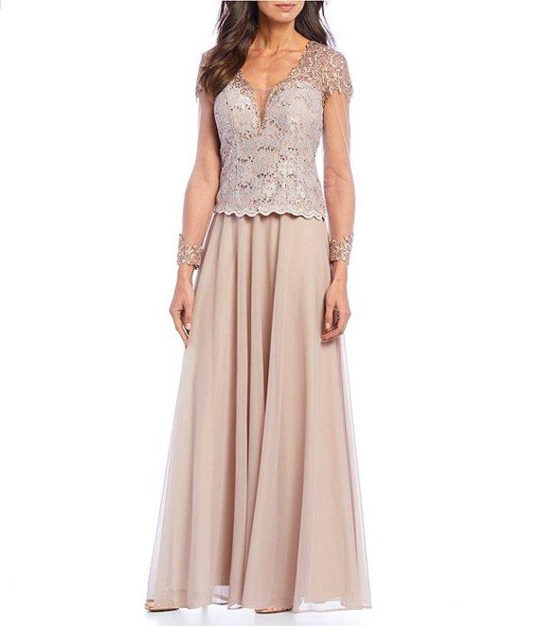 カシェット レディース ワンピース トップス Long Sleeve Lace Bodice Gown Mocha