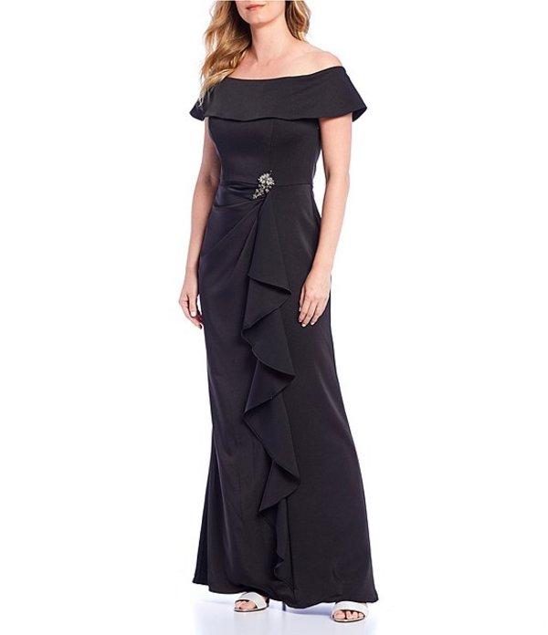 カシェット レディース ワンピース トップス Off-the-Shoulder Broach Ruffle Gown Black