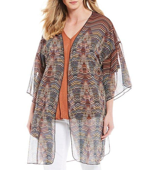デモクラシー レディース カーディガン アウター Plus Size Multi Stripe Print Open Front Kimono Tandori Spice Multi