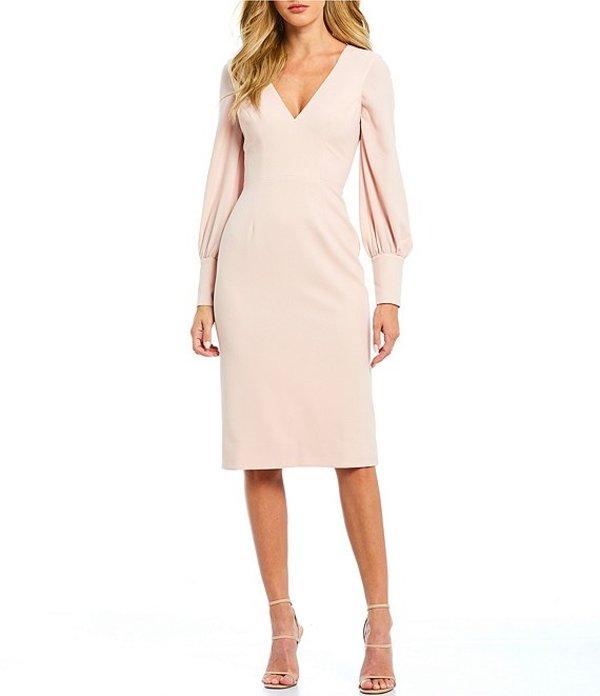 ドレスザポプレーション レディース ワンピース トップス Norah V-Neck Long Puff Sleeve Midi Sheath Dress Powder Blush