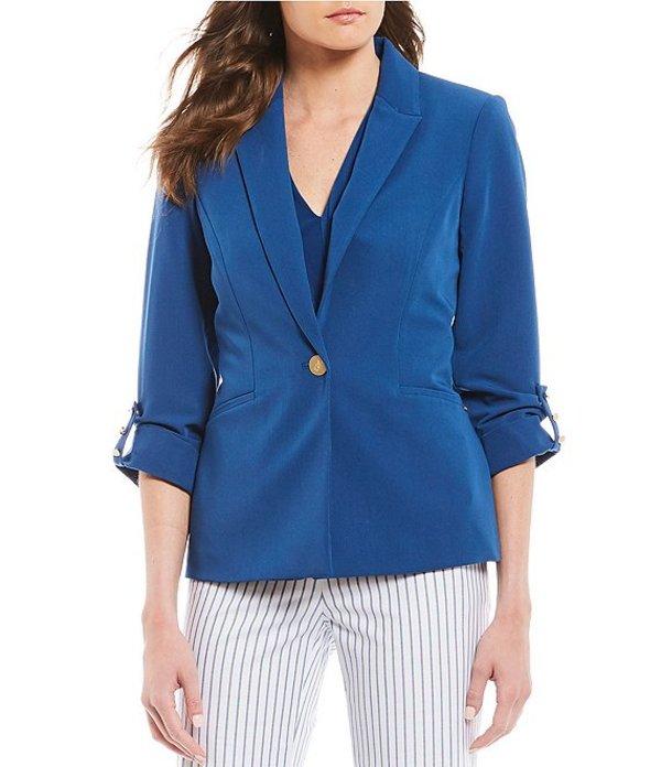 ダナキャラン レディース ジャケット・ブルゾン アウター New York One-Button Roll-Sleeve Jacket Azure