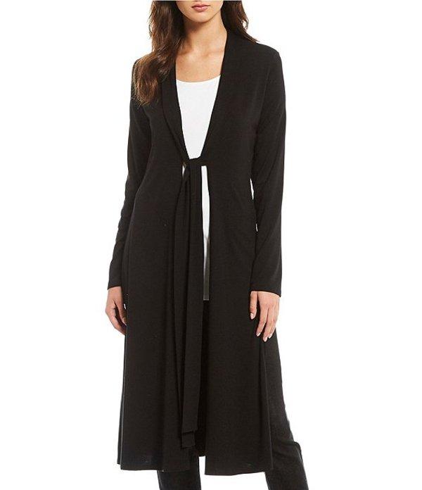 エイリーンフィッシャー レディース カーディガン アウター Kimono Calf Length Tie Front Cardigan Black