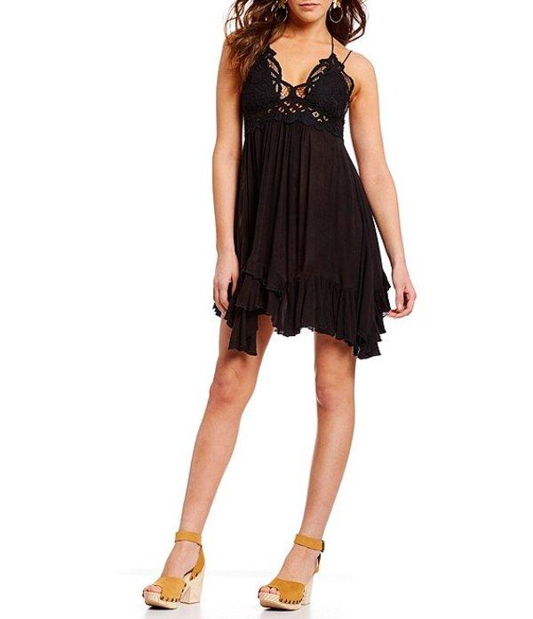 フリーピープル レディース ワンピース トップス Adella Lace Slip Ruffle Asymettric Hem Spaghetti Strap Flounce Mini Dress Black
