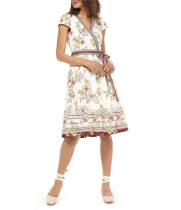 ギャルミーツグラム レディース ワンピース トップス Petite Size Teresa Floral Print Wrap Dress Cream/Pink