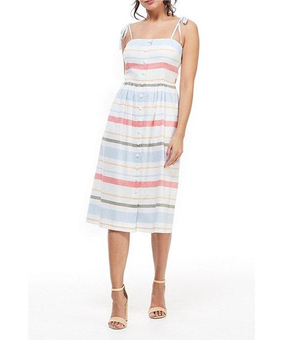 ギャルミーツグラム レディース ワンピース トップス Hattie Button Front Stripe Sleeveless A-Line Midi Dress Coral/Blue/Multi