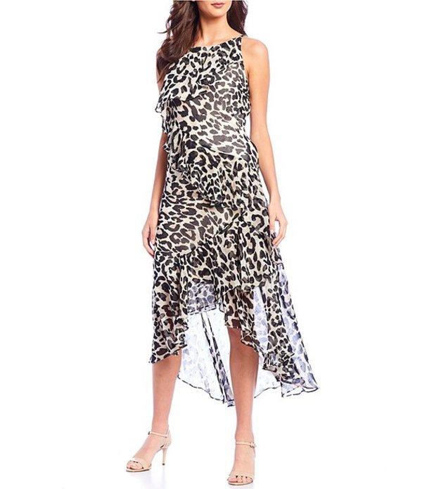 エリザジェイ レディース ワンピース トップス Animal Print Halter Neck Asymmetrical Ruffle Midi A-Line Dress Animal