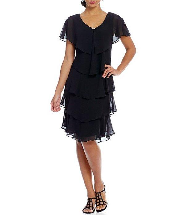 イグナイト レディース ワンピース トップス Georgette Tiered Capelet Dress Black