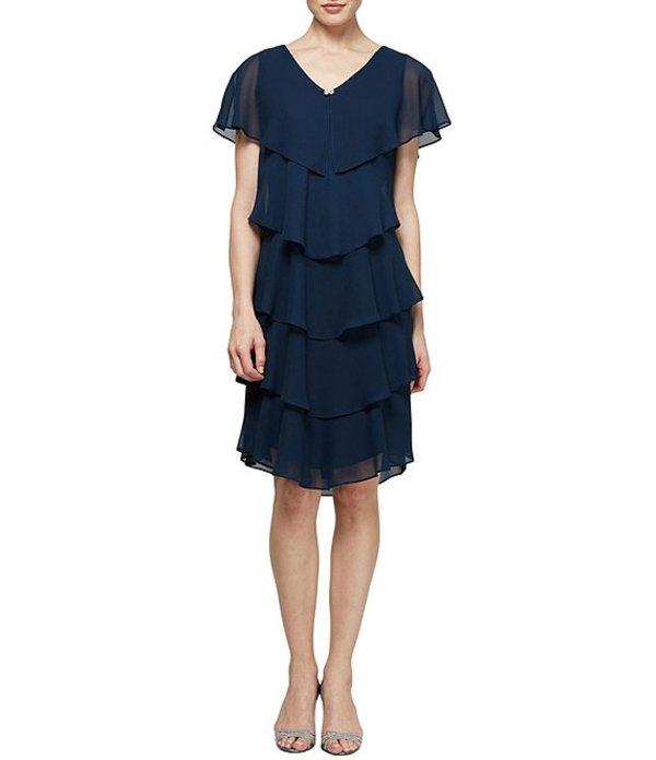 イグナイト レディース ワンピース トップス Georgette Tiered Capelet Dress Navy