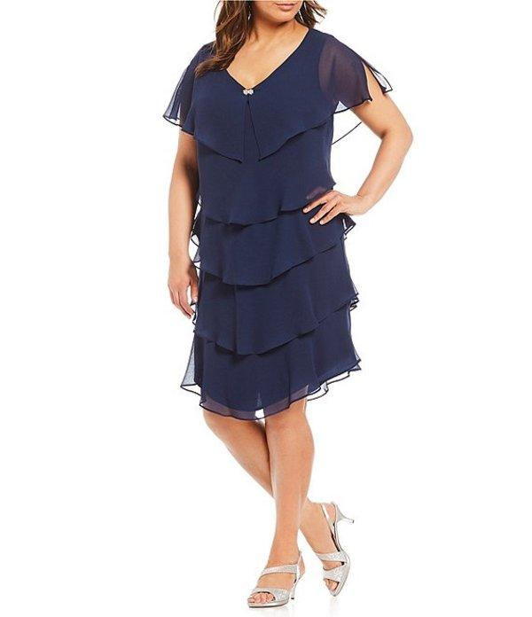 イグナイト レディース ワンピース トップス Plus Georgette Tiered Short Sleeve Capelet Dress Navy