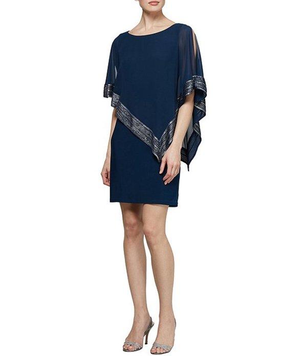 イグナイト レディース ワンピース トップス Foil-Trim Asymmetrical Hem Dress Navy