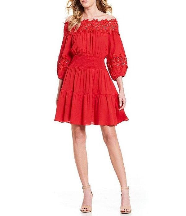 ジャンビニ レディース ワンピース トップス Jason Off-The-Shoulder Smocked Dress Red