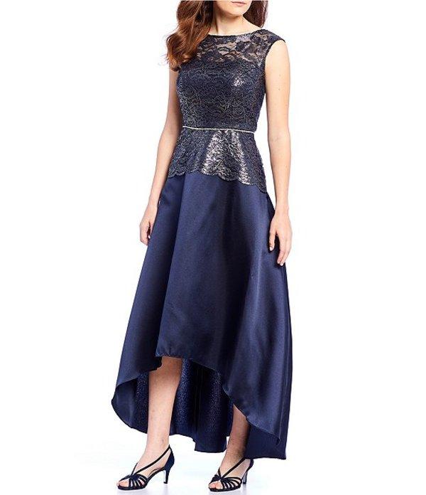 イグナイト レディース ワンピース トップス Metallic Lace Bodice Hi-Low Gown Navy