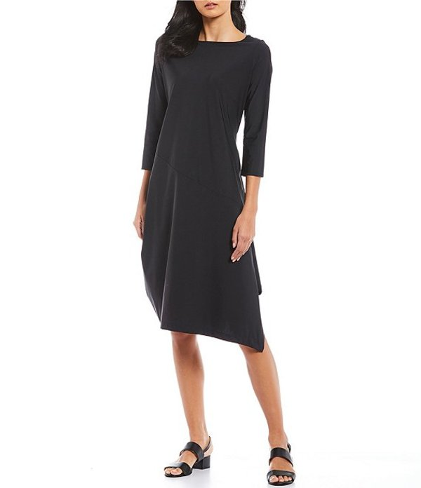 アイシーコレクション レディース ワンピース トップス Asymmetrical Hem 3/4 Sleeve Midi Dress Black