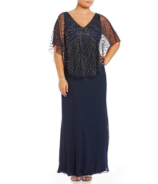 ジェーカラ レディース ワンピース トップス Plus V-Neck Beaded Bodice Capelet Gown Navy/Shaded/Mercury