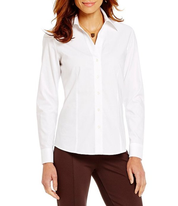 インベストメンツ レディース シャツ トップス Christine Gold Label Non-Iron Long Sleeve Button Front Collared Shirt White