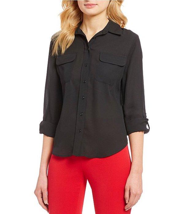 インベストメンツ レディース シャツ トップス Petite Olivia Long Sleeve Button Front Utility Blouse Black