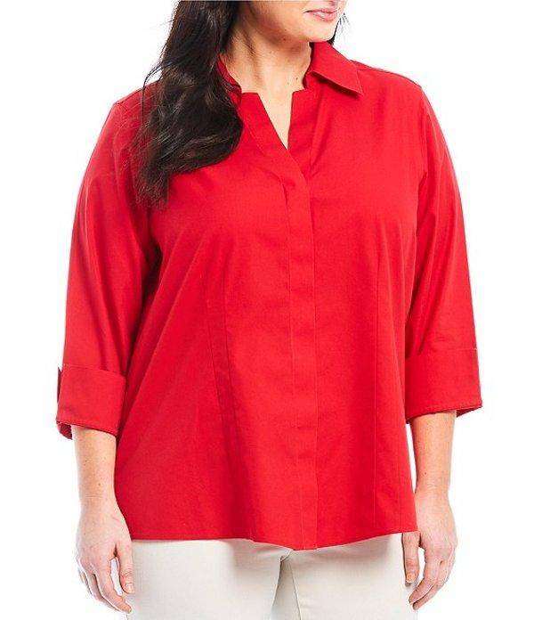 インベストメンツ レディース シャツ トップス Plus Size Taylor Gold Label Non-Iron Y-Neck 3/4 Sleeve Button Front Shirt Red