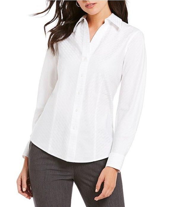 インベストメンツ レディース シャツ トップス Petite Christine Gold Label Non-Iron Long Sleeve Jacquard Button Front Shirt White