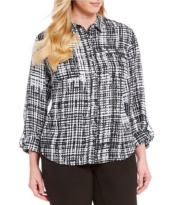 インベストメンツ レディース シャツ トップス Plus Size Olivia Roll-Tab Sleeve Grid Print Utility Button Front Blouse Black/White Grid