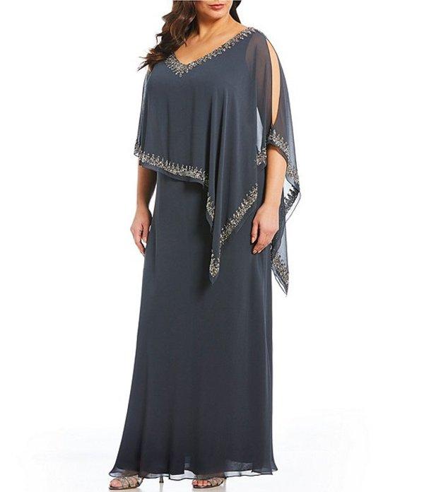 ジェーカラ レディース ワンピース トップス Plus Size Beaded Trim Asymmetrical Popover Gown Grey/Mercury/Silver