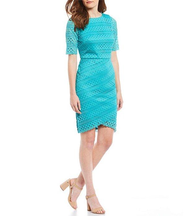 ジェシカハワード レディース ワンピース トップス Short Sleeve Lace Tulip Hem Sheath Dress Turquoise