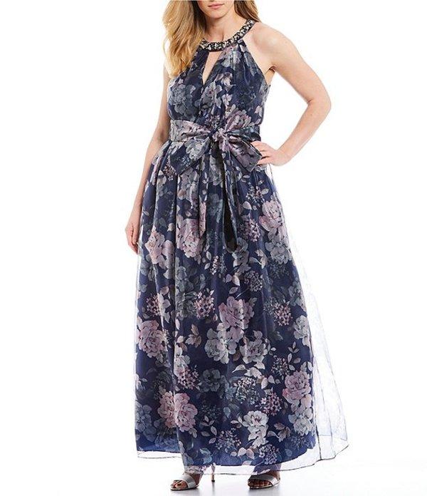 ジェシカハワード レディース ワンピース トップス Plus Size Beaded Halter Neck Floral Print Tie Waist Ballgown Navy