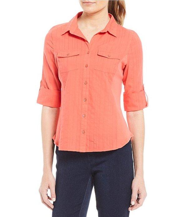 イントロ レディース Tシャツ トップス Petite Size The Jimmy Knit to Fit Collared 3/4 Sleeve Shirt Coral Lipstick