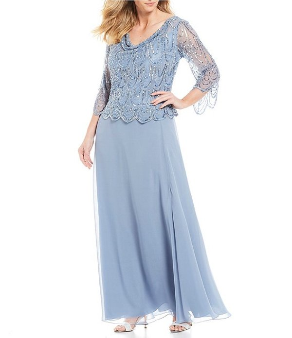 ジェーカラ レディース ワンピース トップス Plus Cowl Neck Scallop Beaded Bodice Gown Dusty Blue/Silver