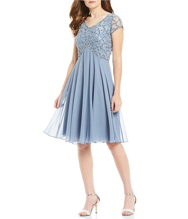 ジェーカラ レディース ワンピース トップス V-Neckline Sequin Bodice Cap Sleeeve Dress Dusty Blue/Blue Metal
