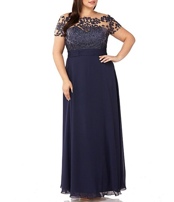 ジェイエスコレクションズ レディース ワンピース トップス Plus Size Illusion Beaded Bodice A-Line Chiffon Gown Navy