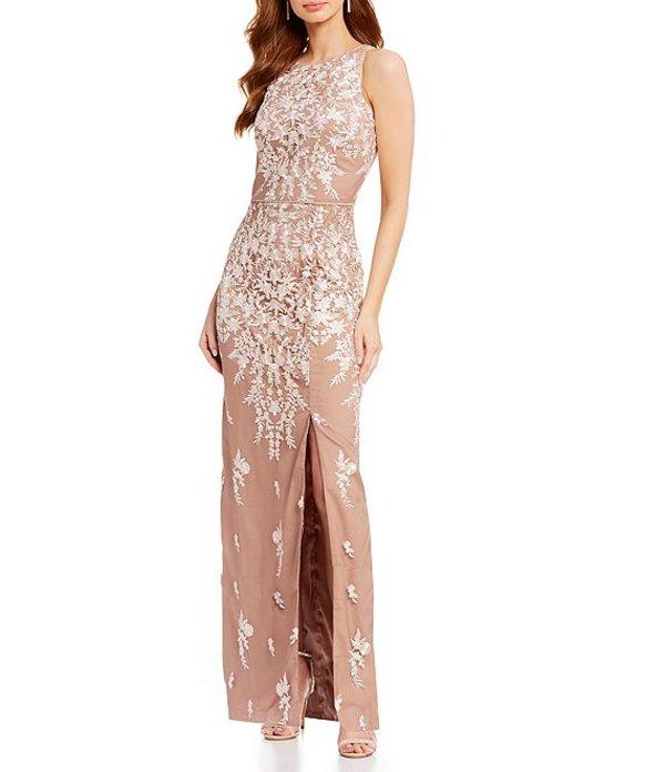 ジェイエスコレクションズ レディース ワンピース トップス Embroidered Illusion Sleeveless Halter Gown Ivory/Blush