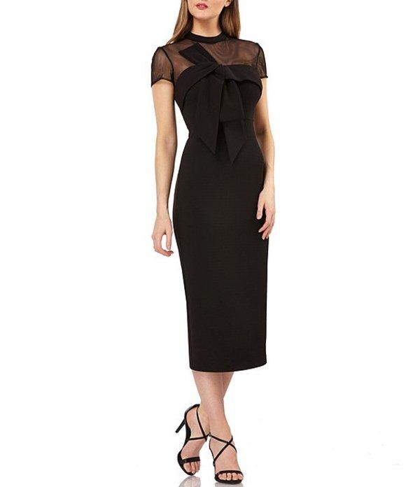 ジェイエスコレクションズ レディース ワンピース トップス Illusion Neck Crepe Bow Front Detail Midi Dress Black