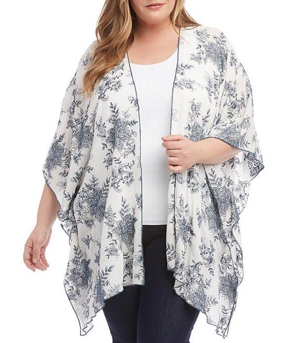 カレンケーン レディース カーディガン アウター Plus Size Gauze Embroidered Kimono Jacket White/Black