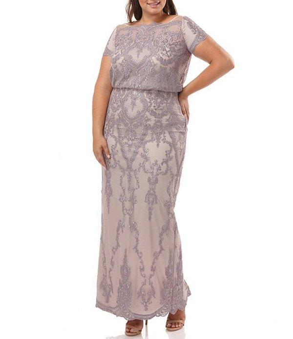 ジェイエスコレクションズ レディース ワンピース トップス Plus Size Embroidered Mesh Short Sleeve Blouson Gown Dusty Lavender