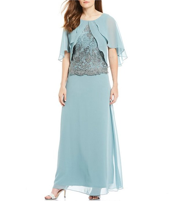 ルボ レディース ワンピース トップス Chiffon Caplet Sequin Embroidered Popover Bodice Long Gown Cool Sage