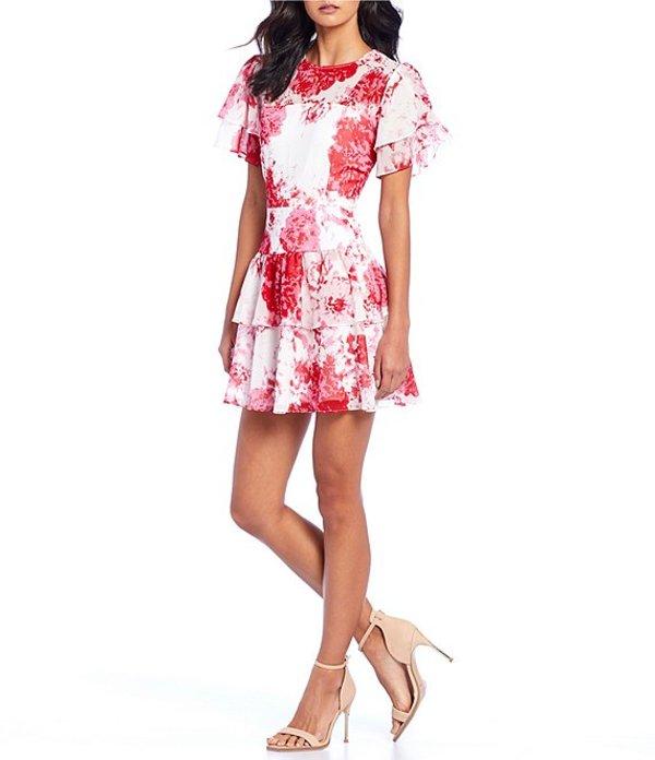 キープセイク レディース ワンピース トップス Enchanted Woven Floral Print Fit & Flare Mini Dress Ivory Rose Floral