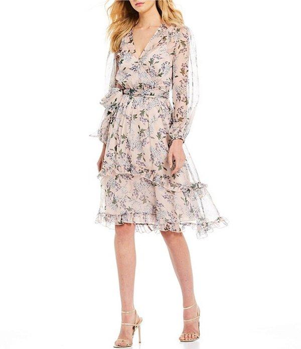 キープセイク レディース ワンピース トップス Luscious Long Sleeve Floral Printed Tiered A-Line Midi Dress Blush Floral