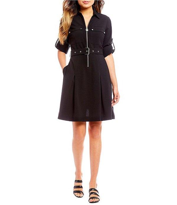 マイケルコース レディース ワンピース トップス Half-Zip Belted A-Line Shirtdress Black
